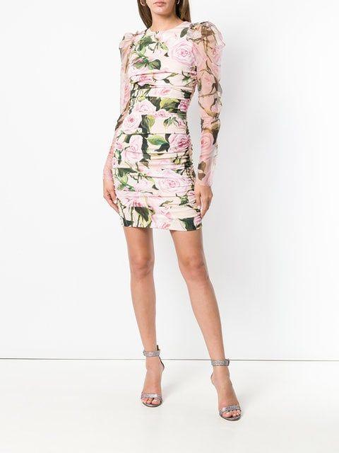 a63a27269330 Dolce   Gabbana Ruched Floral Mini Dress - Farfetch