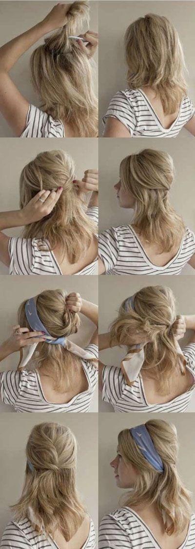 Tuto Half ponytail Foulard cheveux, Cheveux et Coiffure