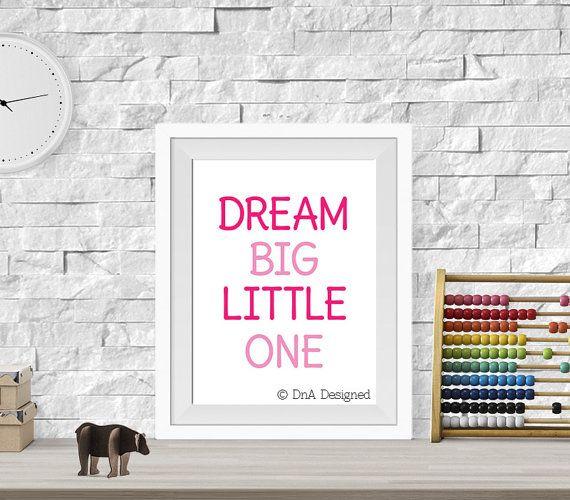 Dream big little one digital print nursery wall art room decor baby shower gift diy 22dp