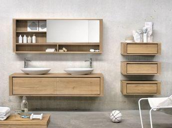 Badmobel Set Aus Massivholz Spiegelschrank Mit Seitlichen Schubladen Ethnicraft Badezimmer Spiegelschrank Spiegelschrank Und Badezimmer