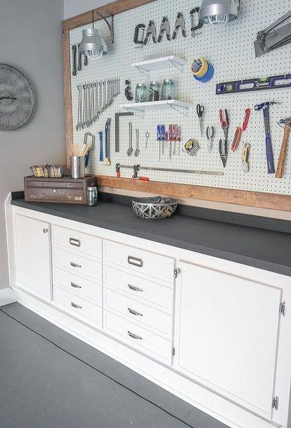 Garage Workbench Makeover Garage Decor Home Garage Makeover