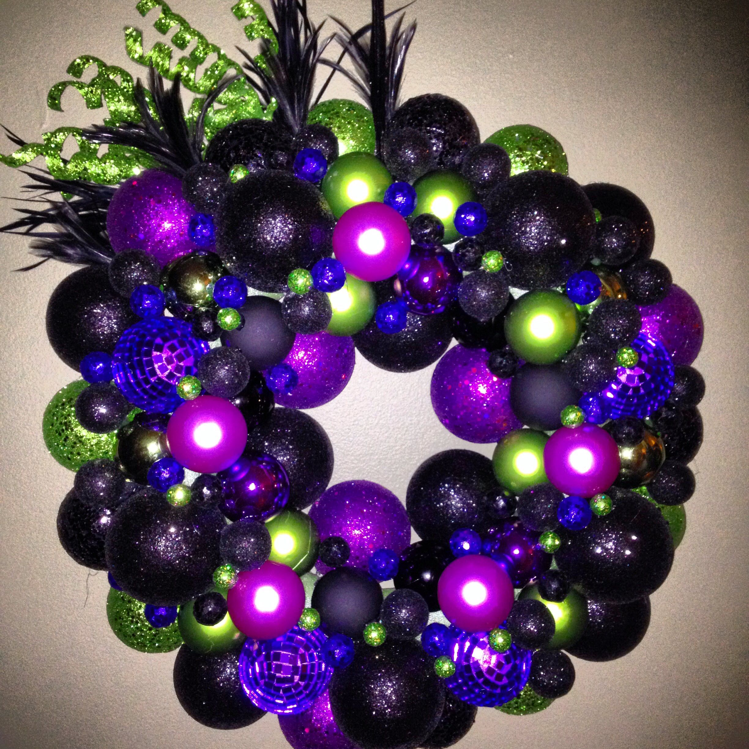 Halloween Themed Ball Ornament Wreath Witchy Colors Ornament Wreath Ball Ornaments Ornaments