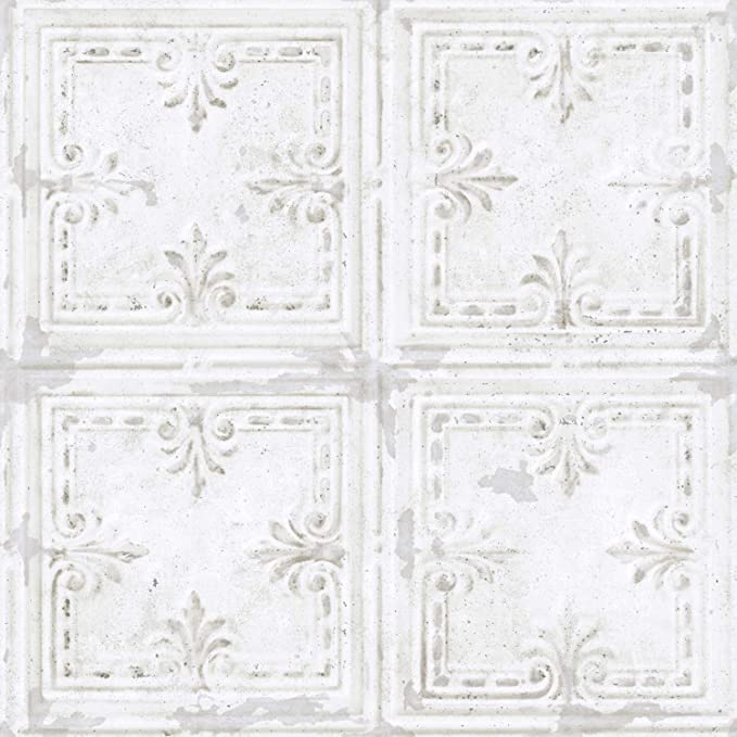Amazon Com Roommates Tin Tile White Peel And Stick Wallpaper Rmk11209wp Multicolor Home Improvement Peelable Wallpaper Tin Tiles Peel And Stick Wallpaper