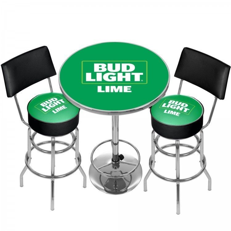 Budweiser Light Lime Bar Stools Table Set Man Cave 360 Degree Swivel Padded Seat Trademark Pub Table Sets Bar Stool Table Set Bar Table And Stools