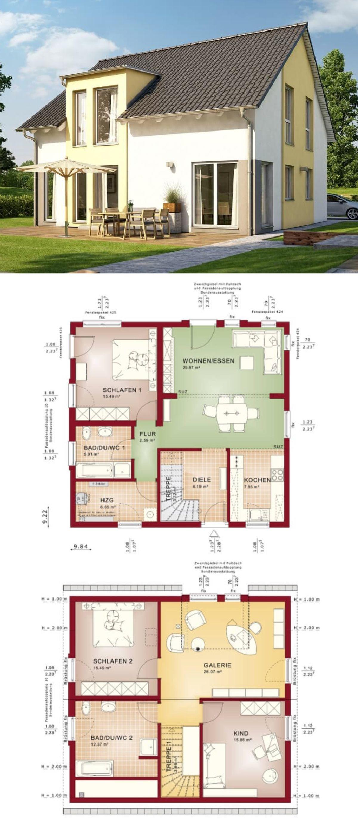 Einfamilienhaus mit Galerie und Satteldach Fertighaus