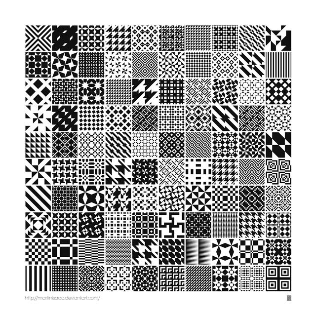 A Stunning Collection Of 100 Geometric Monochromatic Seamless