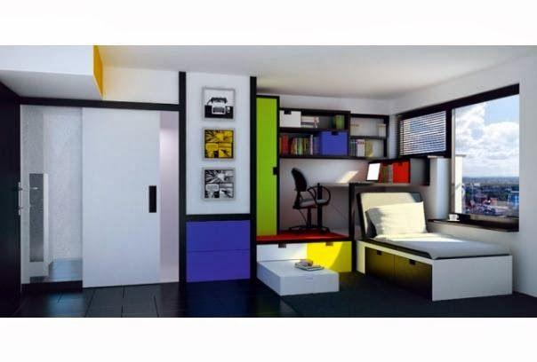 um apartamento bem decorado - uso de muitas cores