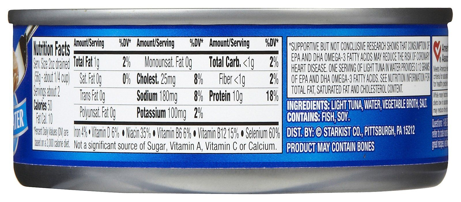 Starkist canned tuna nutrition label nutrition ftempo for Calories in tuna fish