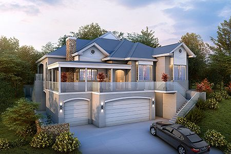 Another Bedroom Could Be Built In Downstairs To Make This Just Right Modern House Plans Facade House Hamptons Style Homes