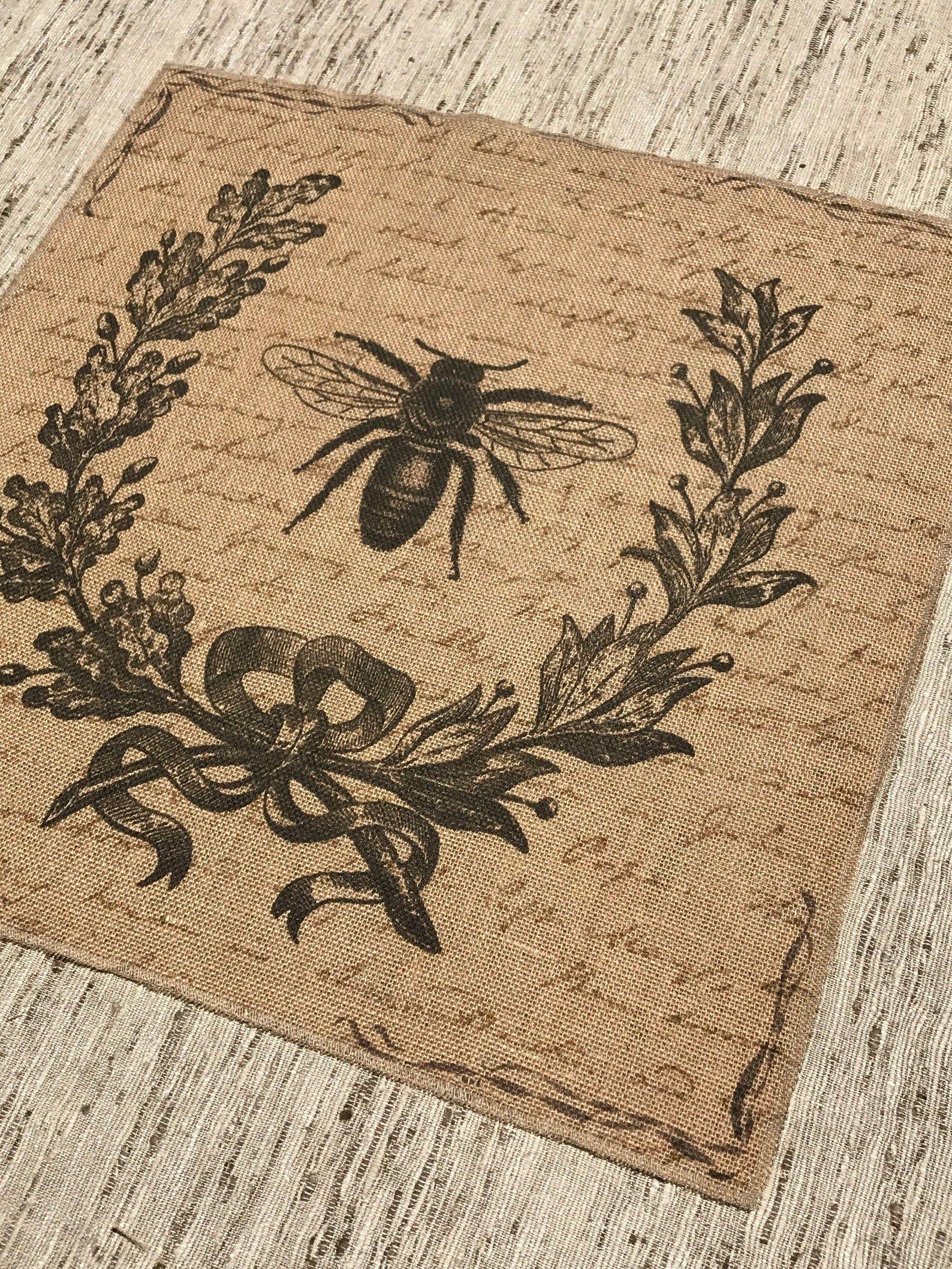 French Grain Sack Burlap Panel Reproduction Printed Fabric