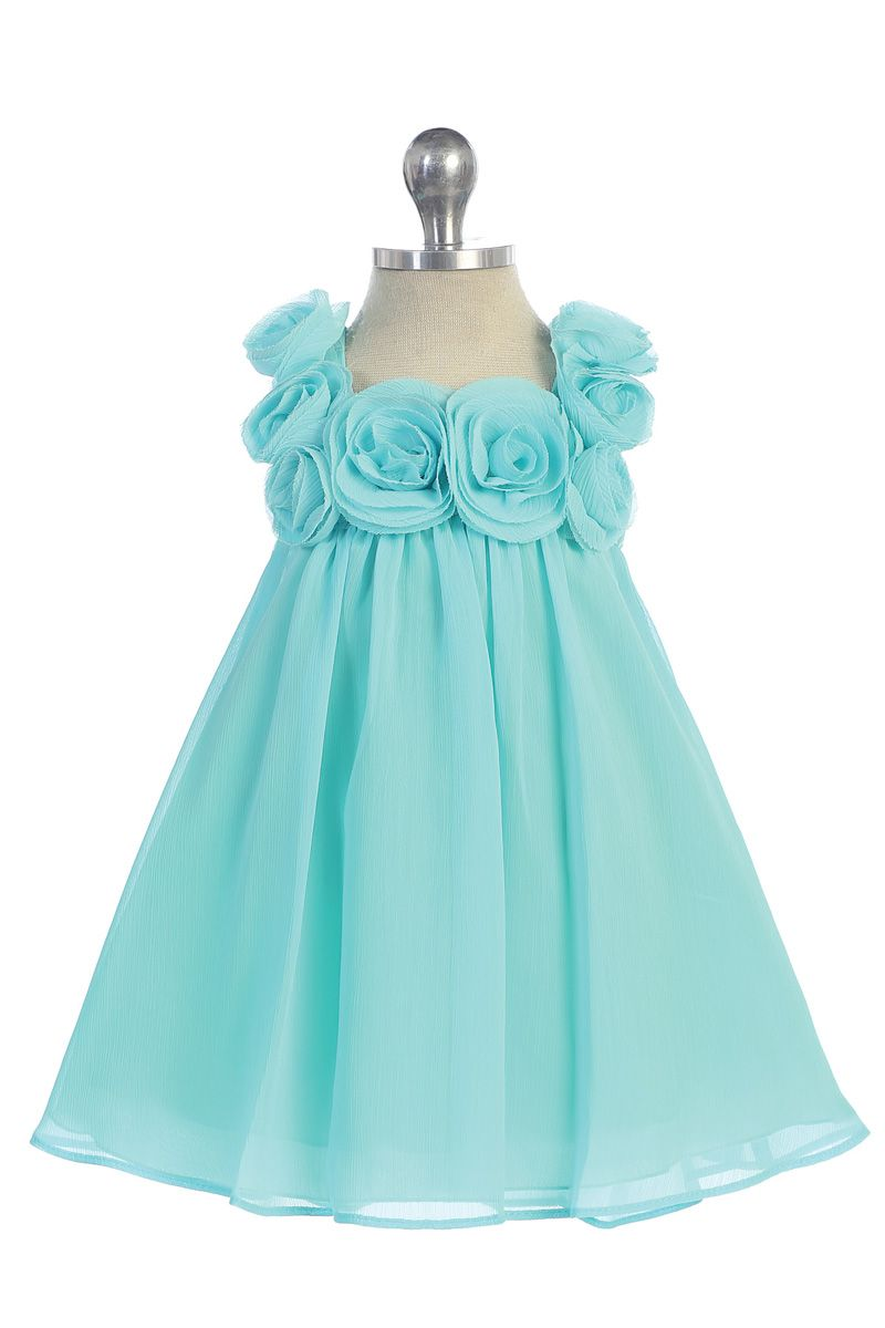 Click to enlarge : Aqua Chiffon A-line Simple Infant Flower Girl ...
