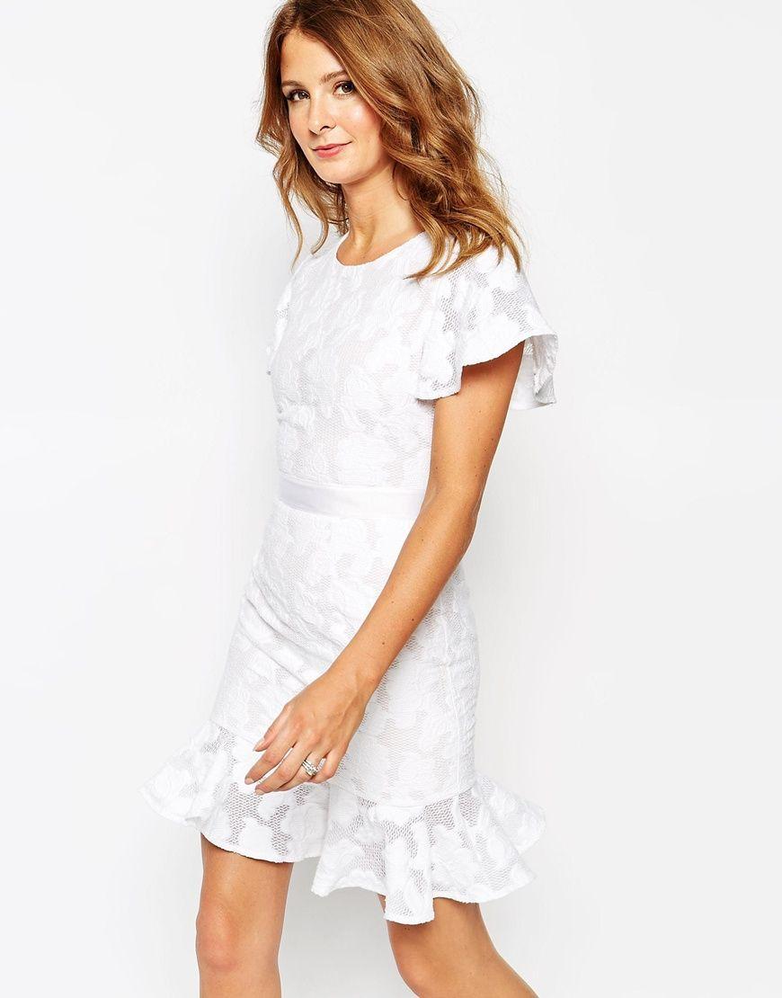 millie mackintosh lace dress with pep hem at asos