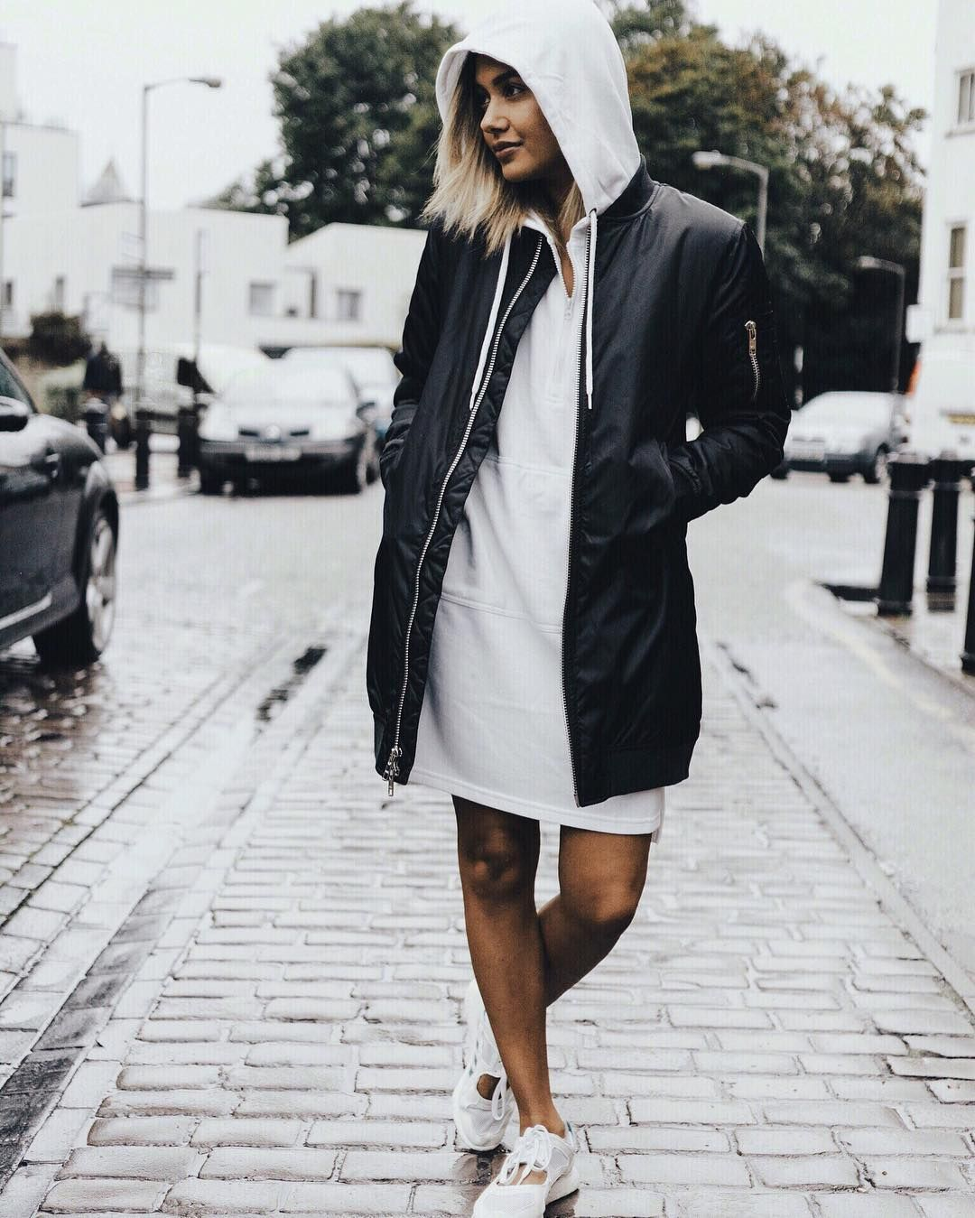 SHOP | @livblankson | Oversized Zip Front Sweatshirt Dress ...