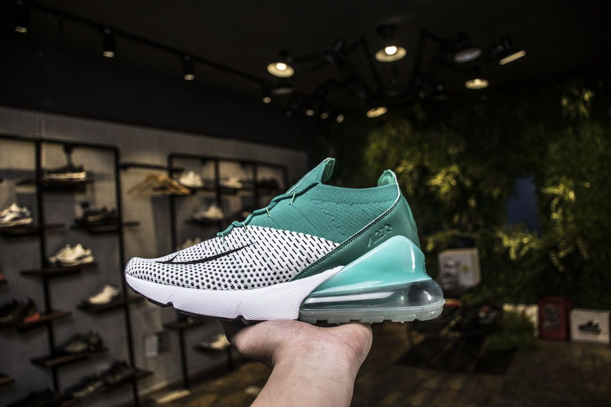 c0cf80a4f4de Nike Air Max 270 Flyknit AH6803-300 Clear Emerald Green White Shoes ...