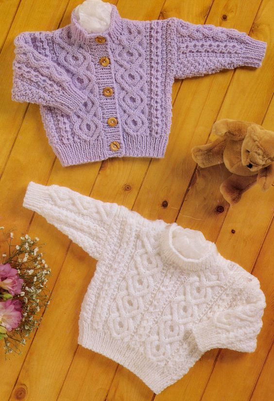 Baby Aran Knitting Pattern Button Up Cardigan & Sweater Button ...