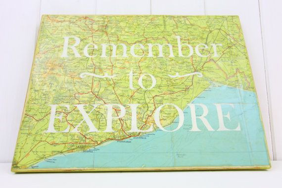 Wanderlust Word Art Map Wall Decor Vintage Map by TheHeartwood ...