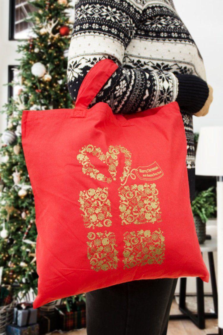 Etsy Torba Bawelniana Czerwonaz Nadrukiem Boze Narodzenie