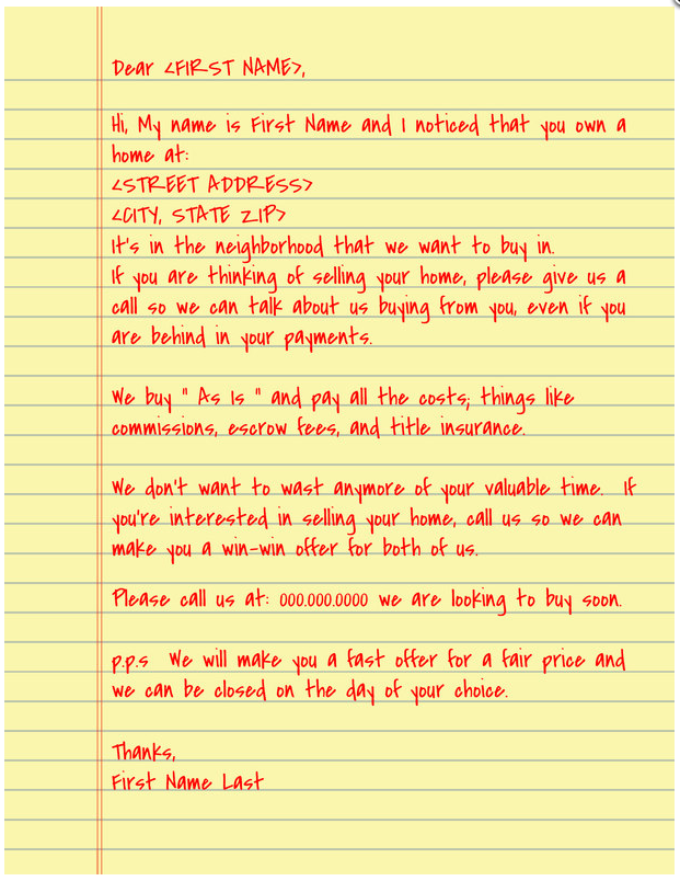I Want To Buy Your House Letter Sample