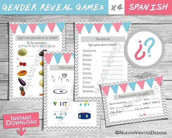 Gender Reveal Games Spanish Boy Or Girl Instant Download Juegos Para Fiesta De Revelacion Del Gender Reveal Games Gender Reveal Gender Reveal Themes