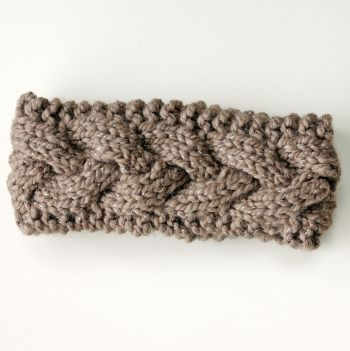 Silver And Cocoa Powder Brown Cable Knit Ear Warmer Headband Knit