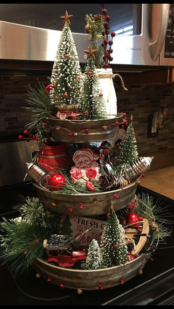 Easy DIY Christmas Table Decorations Ideas - Party Wowzy #tieredtraydecor