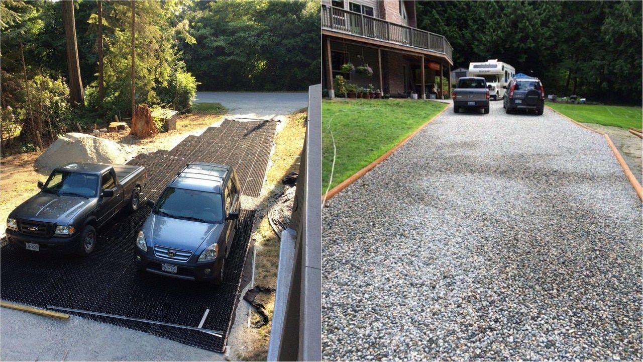 Core driveway grid samples gravel driveway flood zone