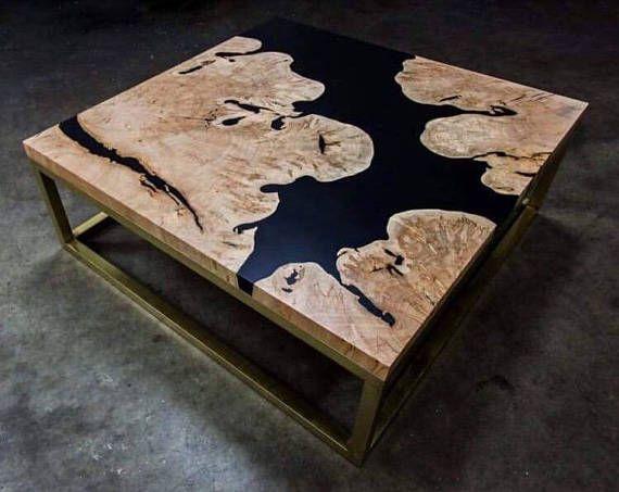 table basse bois d 39 olivier et r sines acheter. Black Bedroom Furniture Sets. Home Design Ideas