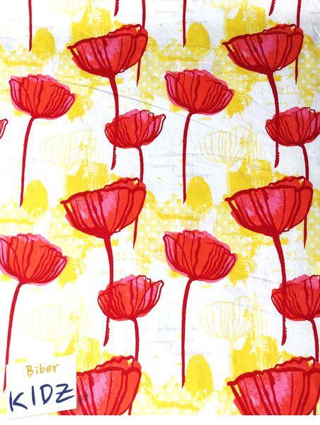 Bio Stoffe Bio Sommerjesey Weiss Rot Gelb Ein Designerstuck Von Biberkidz Bei Dawanda Gelbe Blumen Mohnblume Blumen