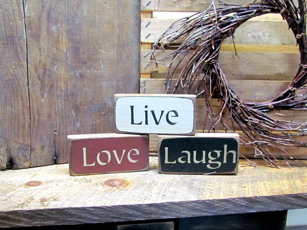 live love laugh set of 3 wooden signs shelf sitters stackable little signs