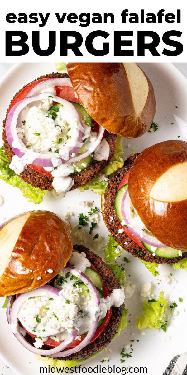 Easy Vegan Falafel Burgers with Yogurt Sauce