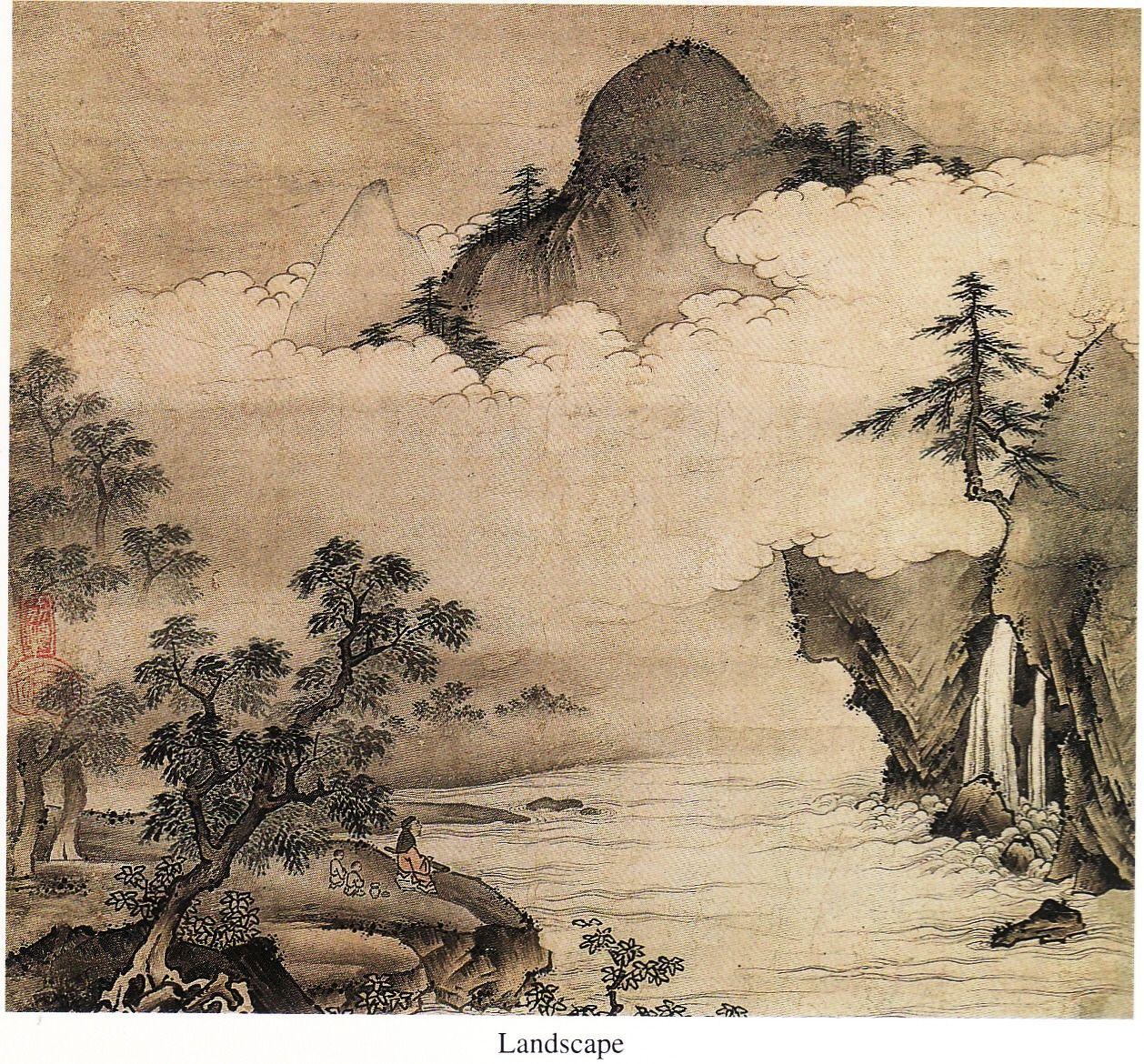 Landscape Maejima Soyu Muromachi Period Japan