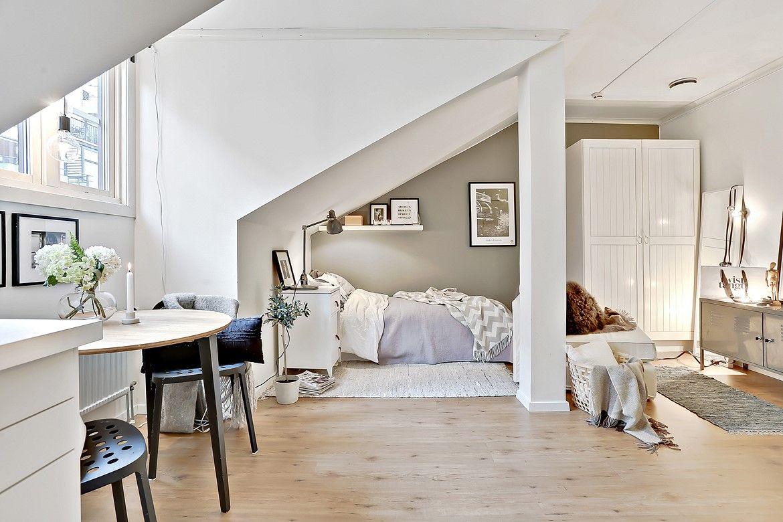 attic studio apartment wohnen pinterest 1 zimmer wohnung dachwohnung und kleine wohnung. Black Bedroom Furniture Sets. Home Design Ideas