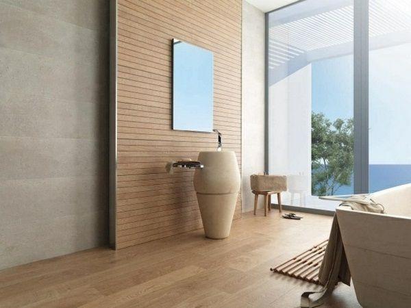 Tiles Wood Optics Bathroom Large Glass Walls Modern Washbasins