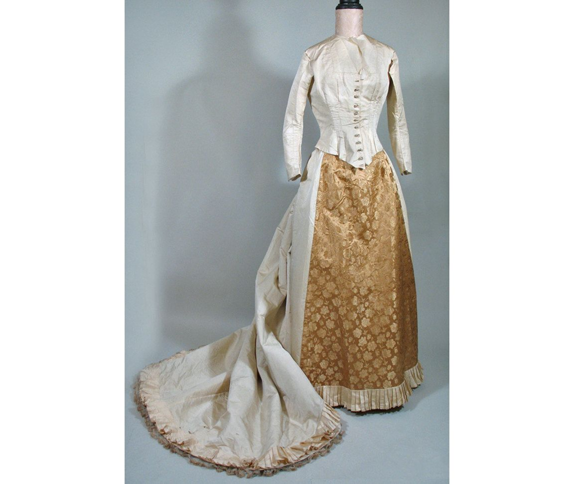 S victorian cream silk satin and gold damask bustle gown dress