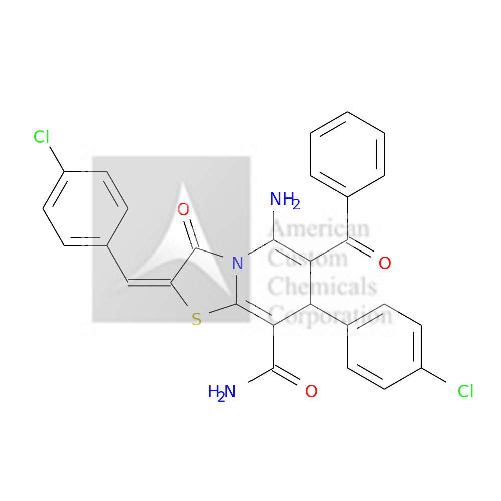 (2E)-5-AMINO-6-BENZOYL-7-(4-CHLOROPHENYL)-2-[(4-CHLOROPHENYL)METHYLIDENE]-3-OXO-7H-[1,3]THIAZOLO[3,2-A]PYRIDINE-8-CARBOXAMIDE is now  available at ACC Corporation