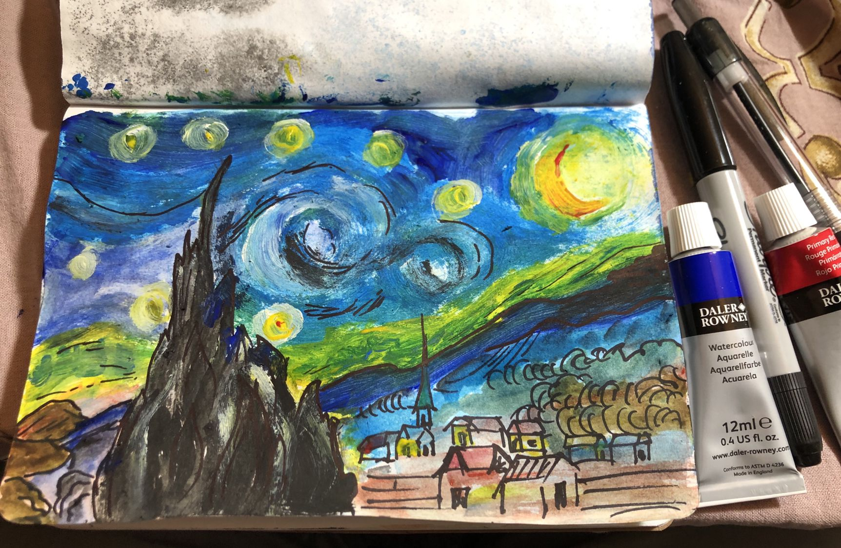 Watercolor Painting Starry Night Van Gogh Starry Night
