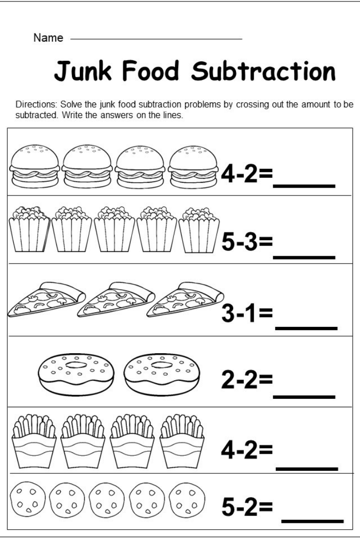 Free Kindergarten Subtraction Worksheet - kindermomma.com   Kindergarten  math worksheets free [ 1102 x 735 Pixel ]