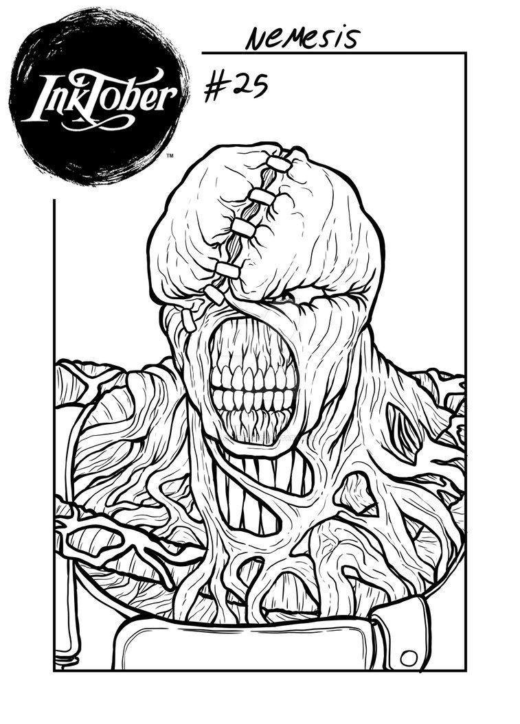 Inktober 25 Nemesis Resident Evil 3 By Allan Fiori On