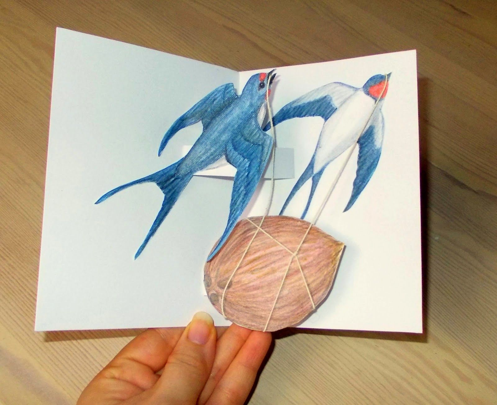 Pop up card, fully laden swallows