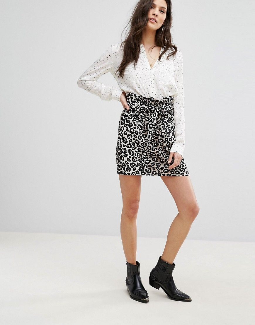 ccc5c7c73c Mango Leopard Print Tie Front Mini Skirt - Black