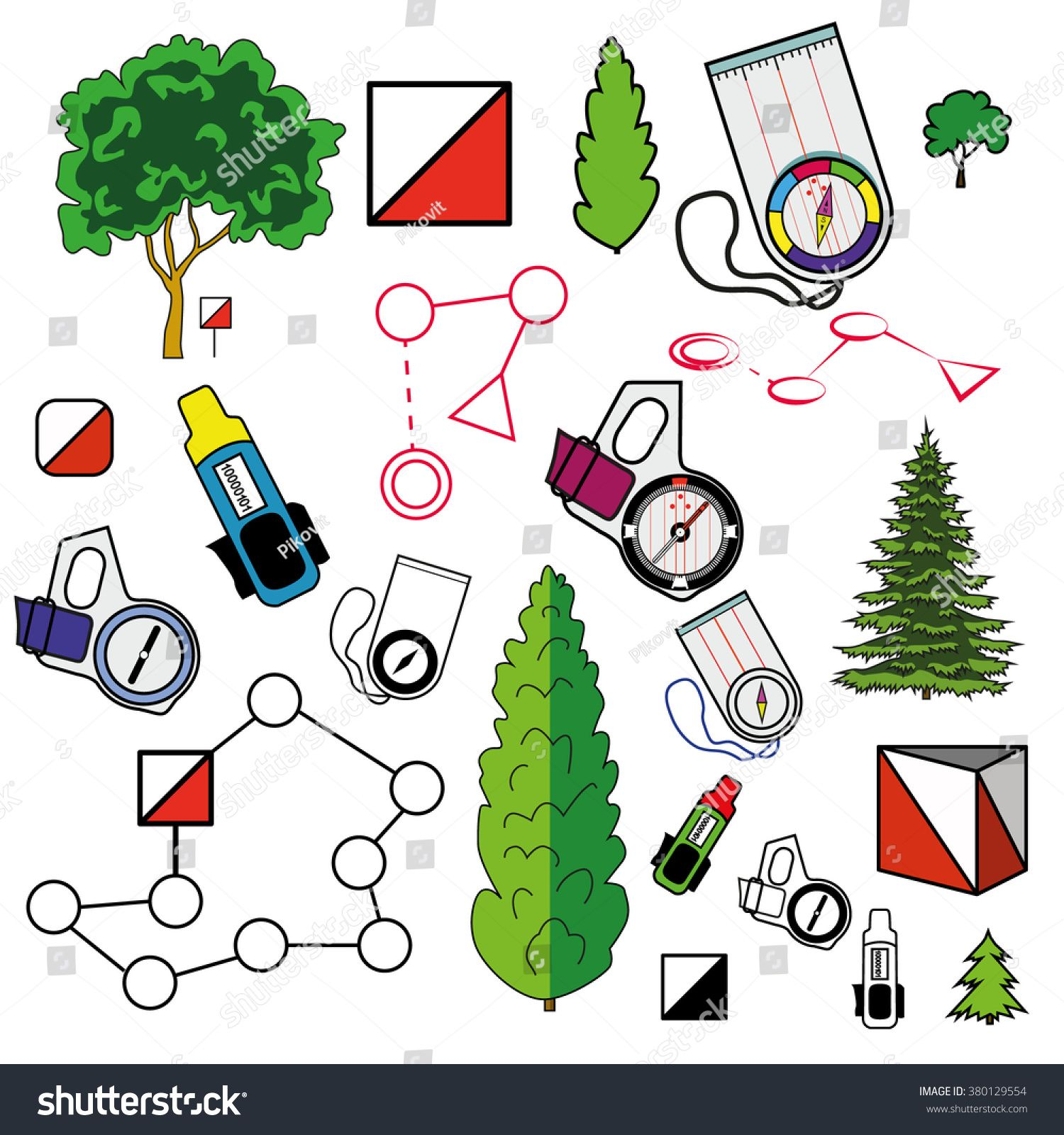 Sports Orienteering Icons Set Of Elements Control Points