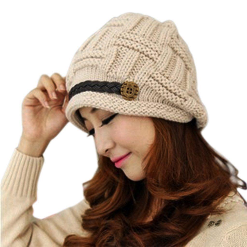 af117f008f6 BIAL Women Knit Snow Hat Winter Snowboarding Beanie Crochet Cap Fashion  Warm Knitted Cap (khaki