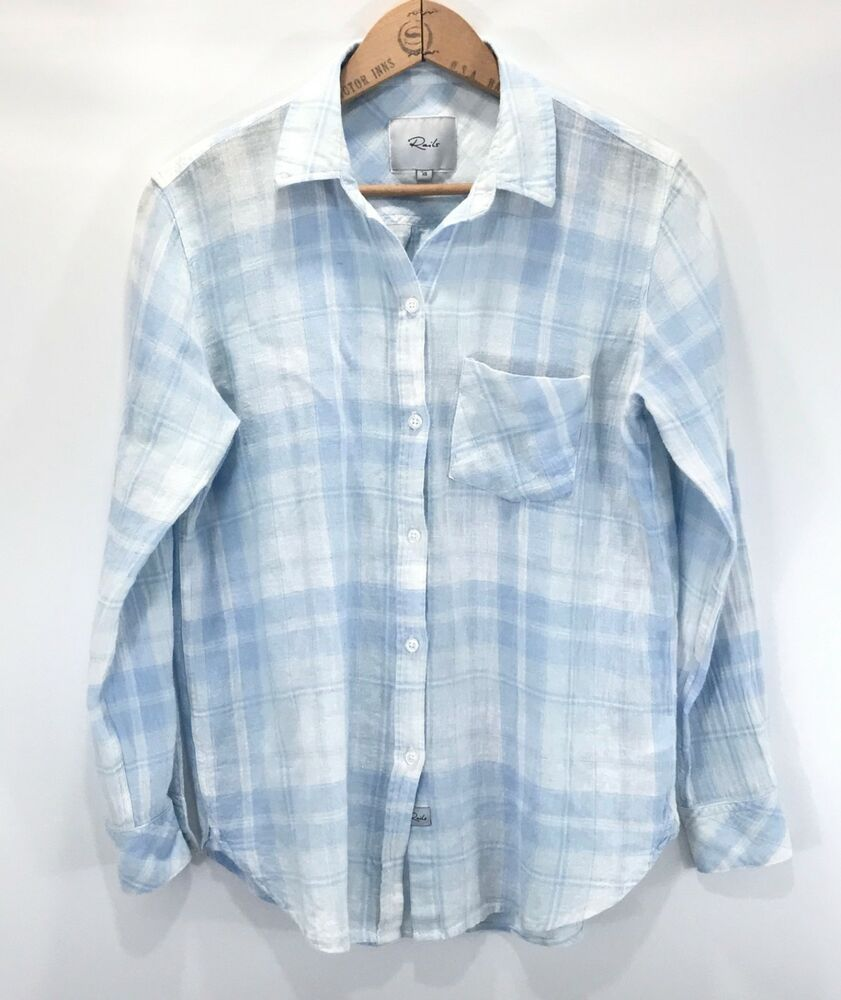 28fca09521f126 Rails Womens Charli Rockport Plaid Shirt Linen Blend XS Blue White Pocket   Rails  Blouse