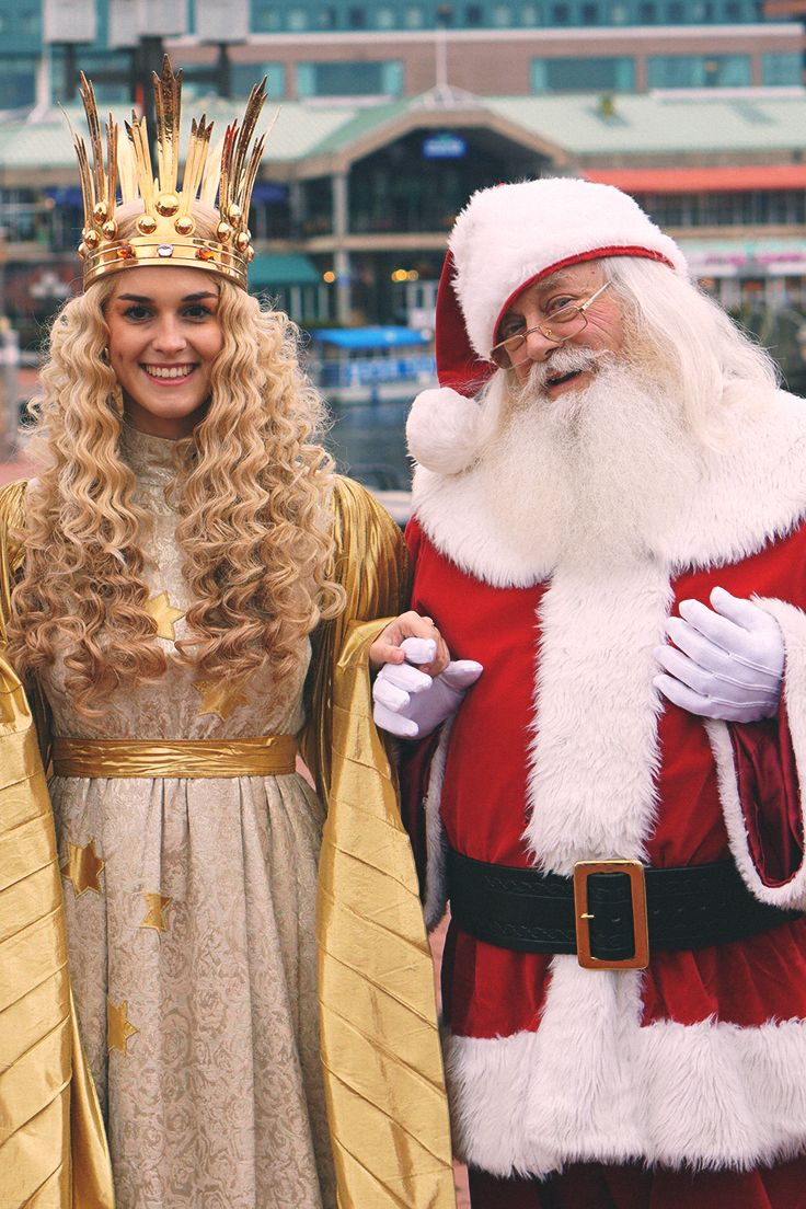 Christkind and Santa at the Opening Ceremony. Christmas Village in ...