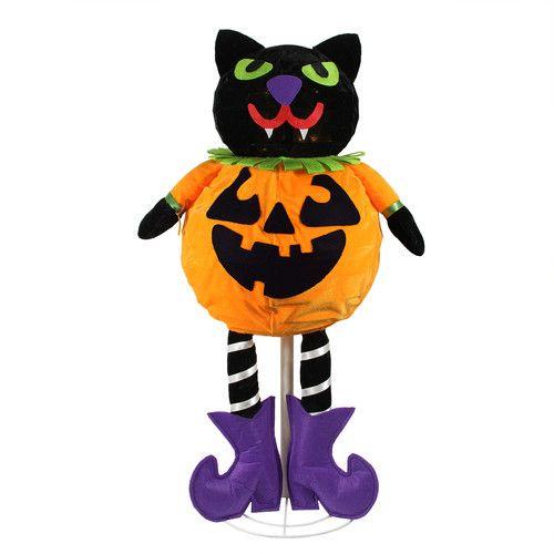 LED Standing Cat Jack-O-Lantern Pumpkin Halloween Decoration Cat