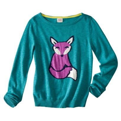 Mossimo Supply Co. Juniors Long Sleeve Fox Sweater - Aqua. Don't care if I'm not a teenager - I'm going to rock the HELL out of this, y'all. {Target!}