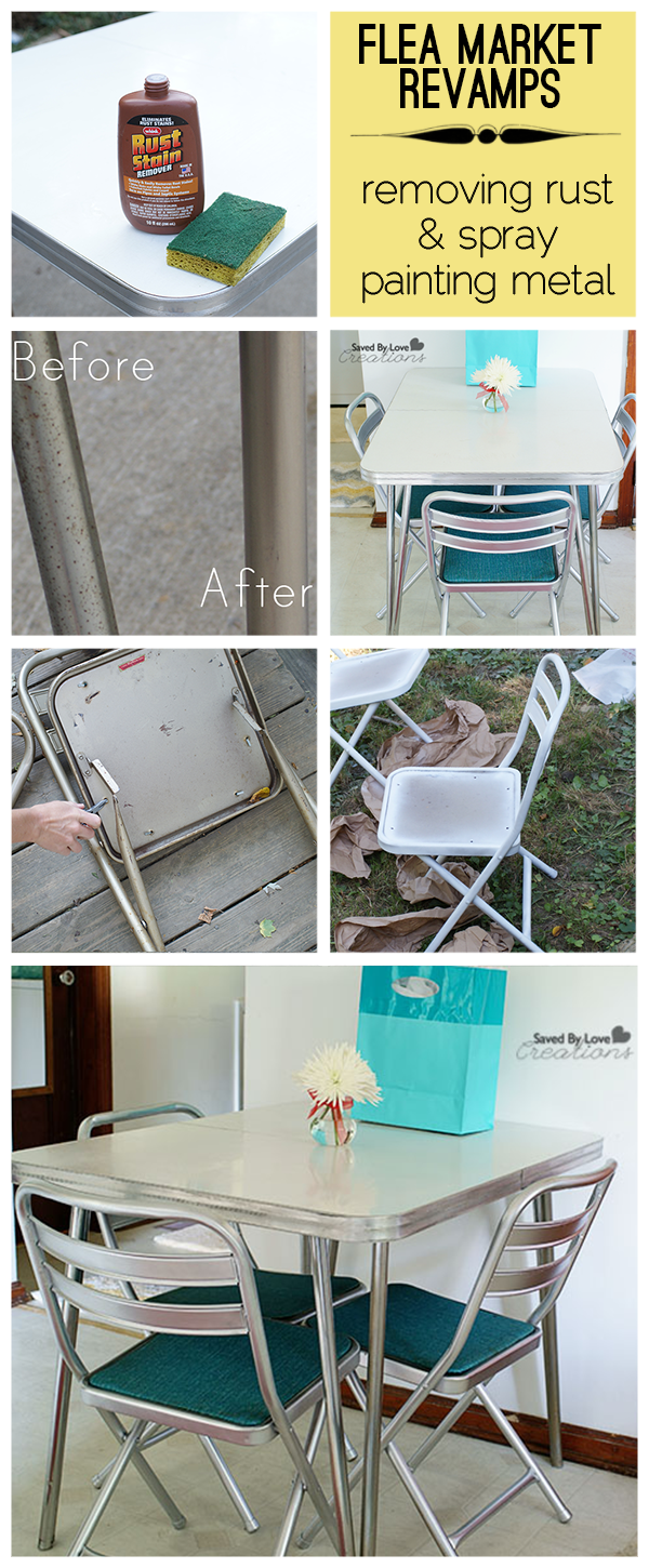 Cool Flea Market Vintage Table Revamp With Tips On How To Remove Rust From  Chrome AND Spray Paint Metal Chairs To Look Chrome. Full Kitchen Table And  Chairs ...