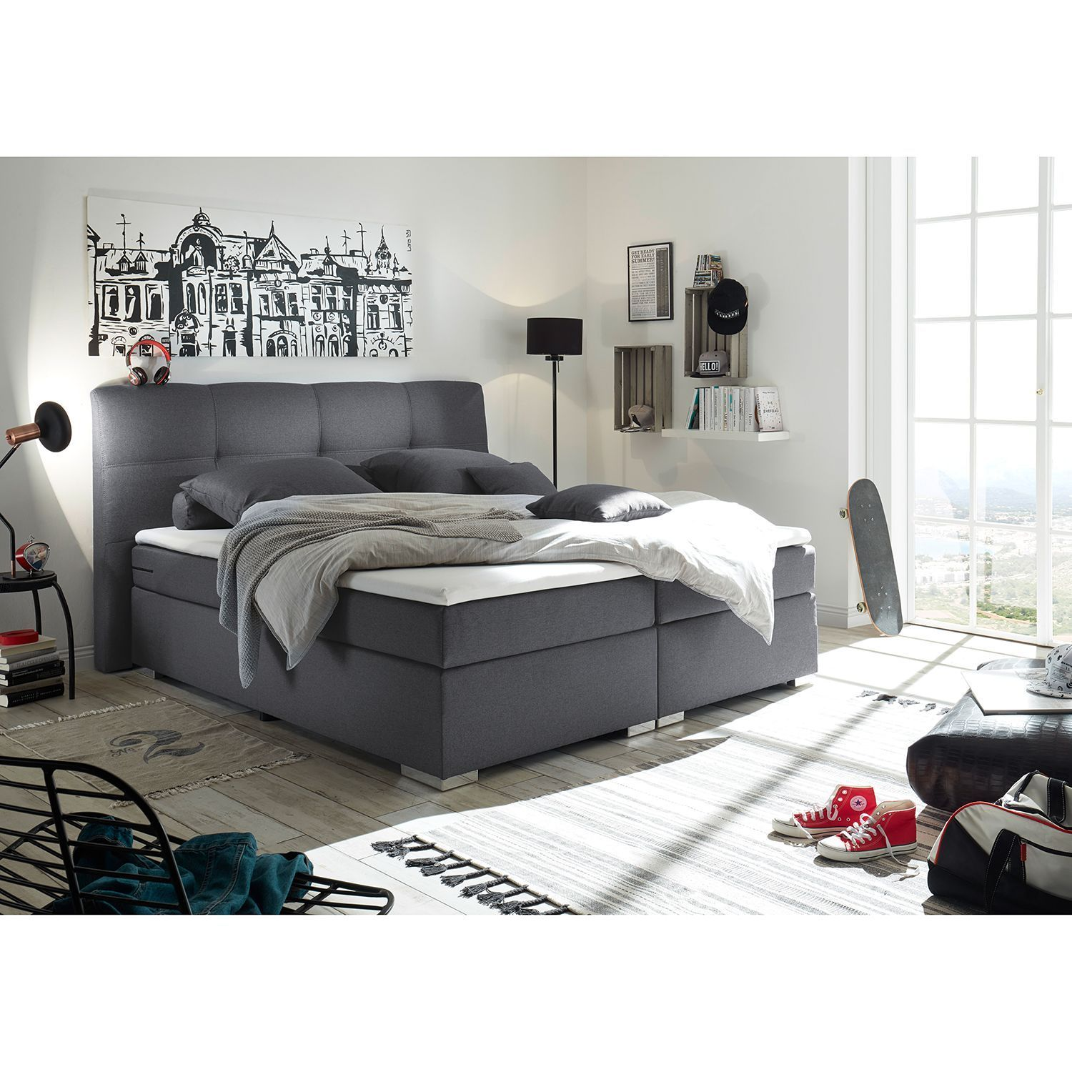 Fredriks Boxspringbett Marangaroo 180x200 Cm Kunstfaser Anthrazit Mit Matratze Oberseite In 2020 Luxury Bedroom Design Home Decor Styles Home