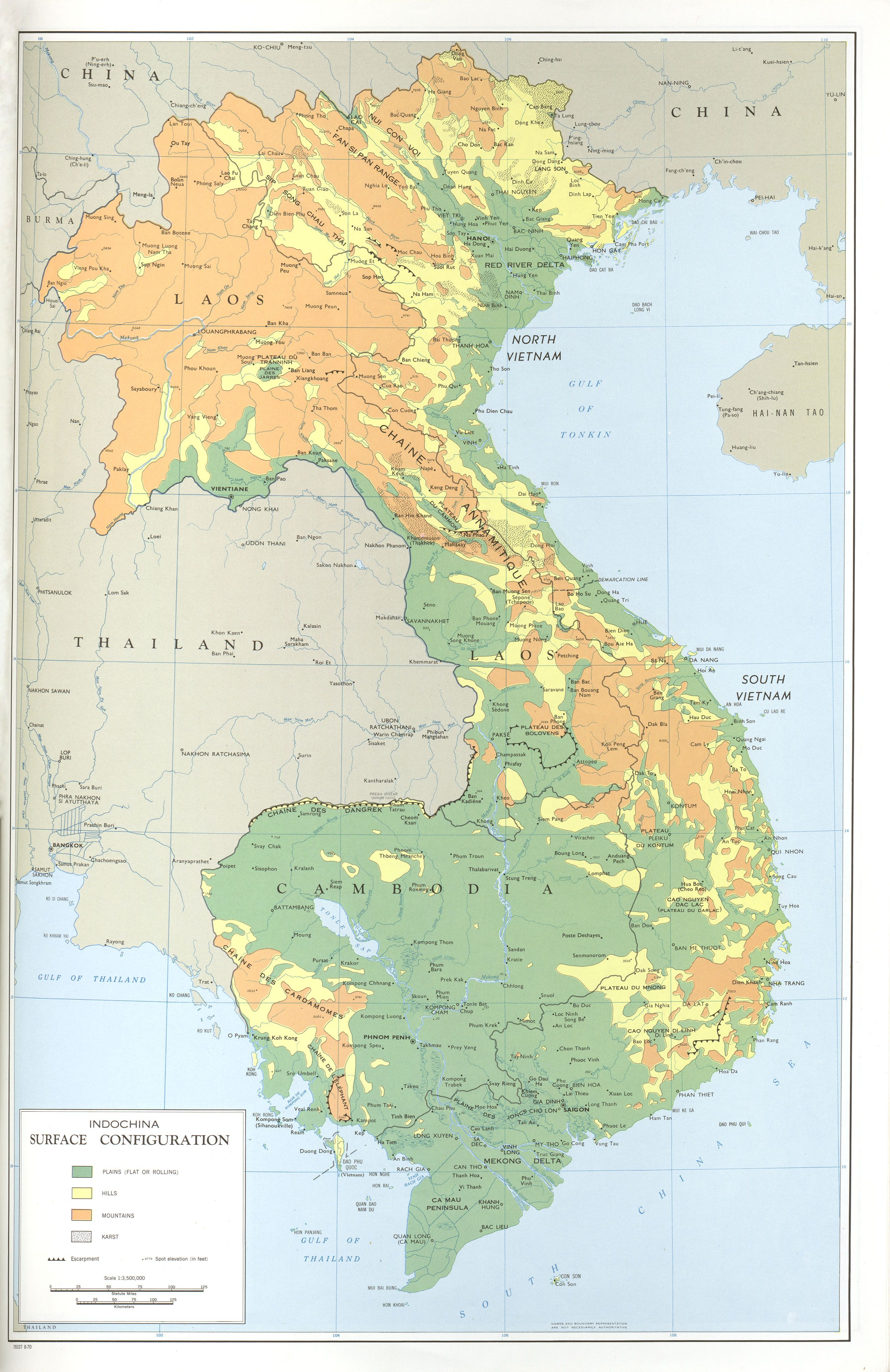 Indochina Surface Configuration Map, 1970 | Việt Nam | North korea ...