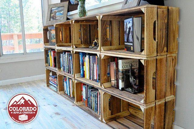 Photo of Bücherregal aus Holz – Bücherregale aus Holz – Handgefertigte Holzkisten zur Präsentation Ihrer Büchersammlung – Modulare Aufbewahrung / Stapelbare Aufbewahrung